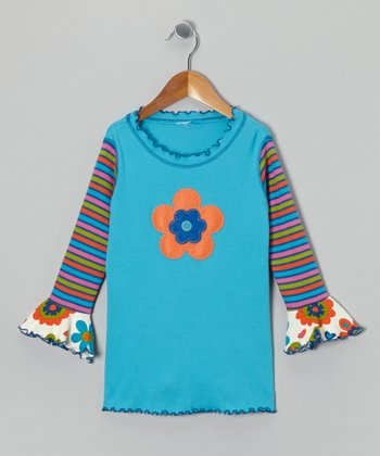 Turquoise Flower Swing Top - Toddler & Girls