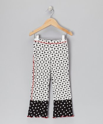 Black & Cream Geometric Cuff Pants - Toddler & Girls