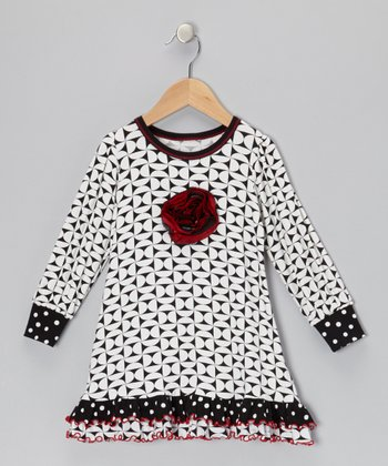 Black & Cream Geometric Dress - Toddler
