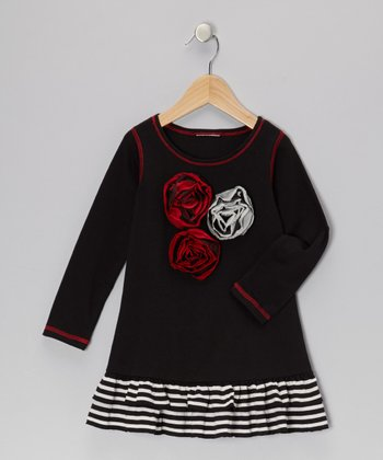 Black Rose Ruffle Dress - Toddler & Girls
