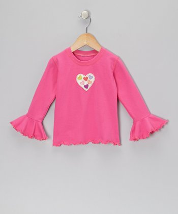 Fuchsia Heart Ruffle Top - Toddler & Girls