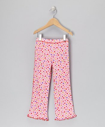 Pink Polka Dot Flare Leggings - Girls