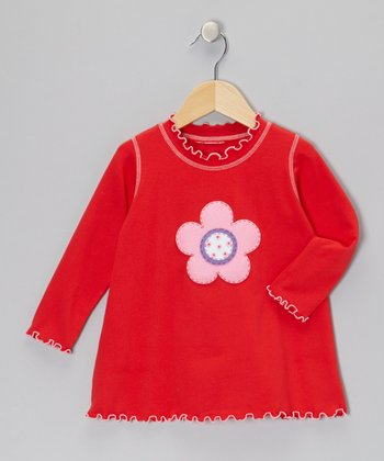 Red Flower Swing Top - Toddler & Girls