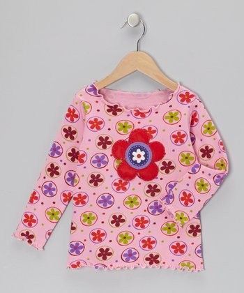 Pink Polka Dot Flower Top - Toddler & Girls