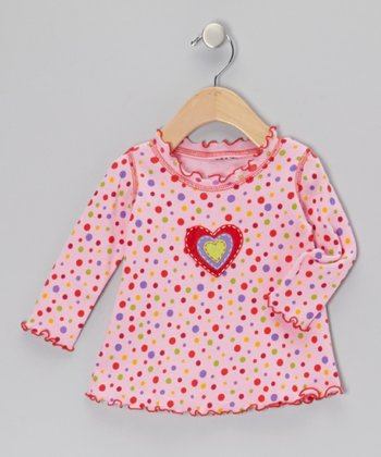 Pink Polka Dot Heart Top - Infant & Girls