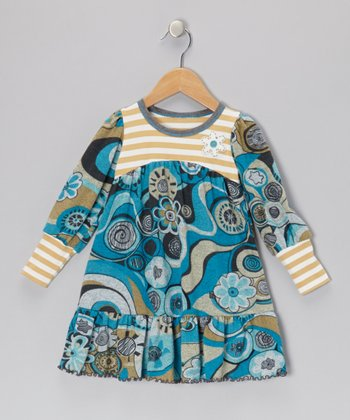 Turquoise & Gray Crazy Flower Dress - Toddler & Girls