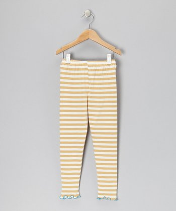Khaki Stripe Leggings - Toddler & Girls