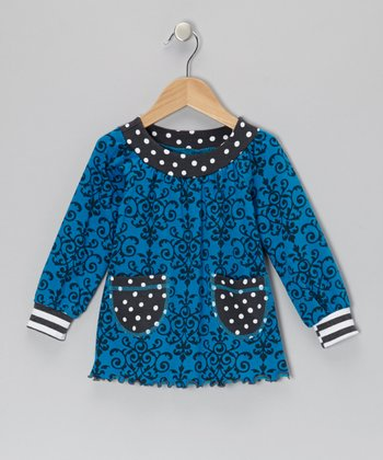Turquoise & Gray Vine Tunic - Toddler & Girls