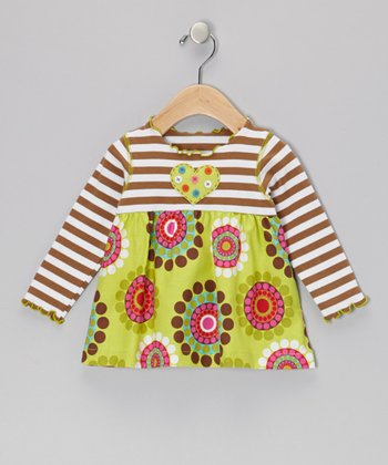 Green Crazy Circles Swing Top - Infant, Toddler & Girls