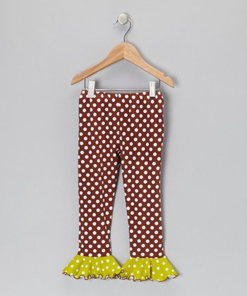 Camel Polka Dot Flounce Leggings - Infant, Toddler & Girls