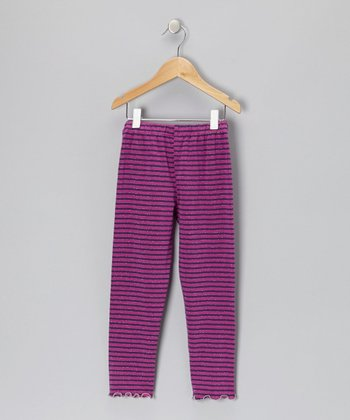 Purple & Magenta Stripe Leggings - Girls