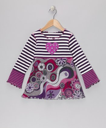 Purple & Gray Groovy Babydoll Top - Toddler & Girls