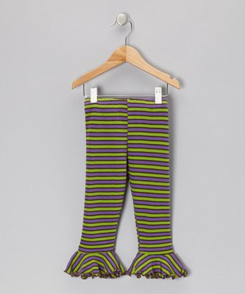 Purple & Green Stripe Flounce Leggings - Toddler & Girls