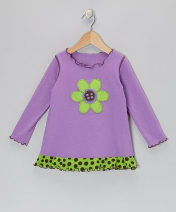 Purple Flower Ruffle Swing Top - Toddler & Girls