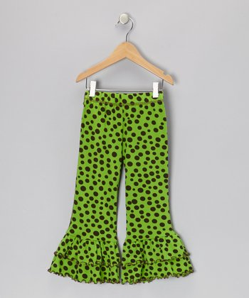 Green Polka Dot Ruffle Pants - Toddler & Girls