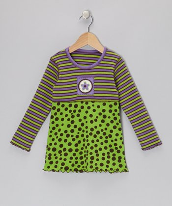 Green & Brown Polka Dot Baby Doll Top - Toddler & Girls