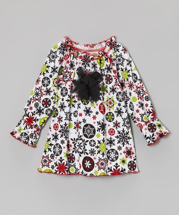 White Snowflake Peasant Top - Infant, Toddler & Girls