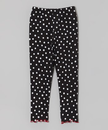 Black Polka Dot Lettuce-Edge Leggings - Infant & Toddler