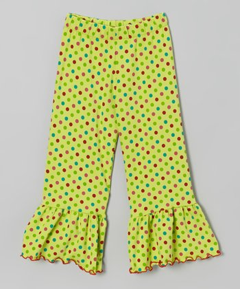 Light Green Polka Dot Ruffle Pants - Toddler & Girls