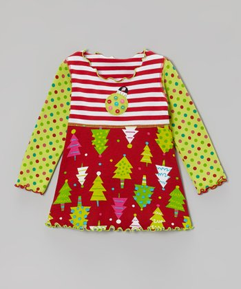 Red & Light Green Tree Crazy Babydoll Top - Toddler & Girls