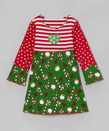 Green & Red Candy Cane Crazy Dress - Toddler & Girls
