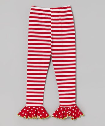 Red & White Stripe Polka Dot Flounce Leggings - Toddler & Girls