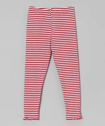 Red & White Stripe Lettuce-Edge Leggings - Toddler & Girls