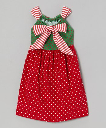 Red & Green Polka Dot Bow Babydoll Dress - Girls