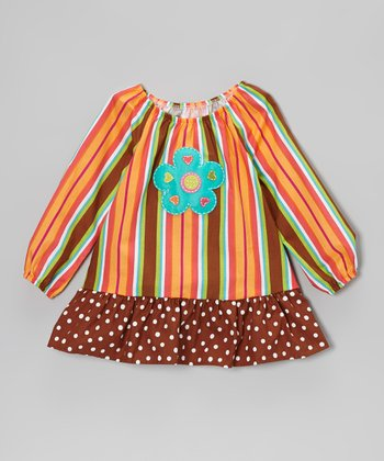 Orange & Brown Stripe Ruffle Peasant Top - Toddler & Girls