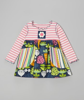 Pink & Navy Vegetable Pocket Swing Top - Toddler & Girls