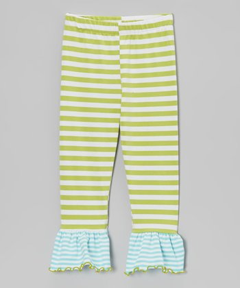 Green & Aqua Stripe Flounce Leggings - Infant, Toddler & Girls