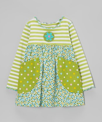 Green Mini Flower Pocket Swing Top - Toddler & Girls