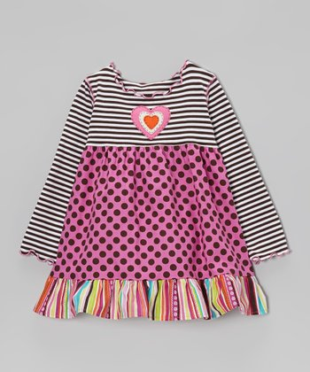 Pink & Chocolate Polka Dot Ruffle Swing Top - Toddler & Girls