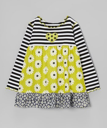 Green & Black Daisy Ruffle Swing Top - Toddler & Girls