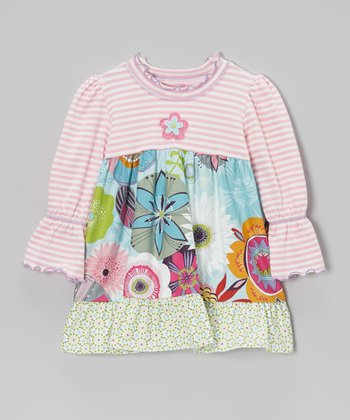 Pink & Light Blue Floral Ruffle Top - Toddler & Girls