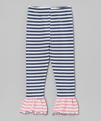 Purple & Pink Stripe Flounce Leggings - Toddler & Girls