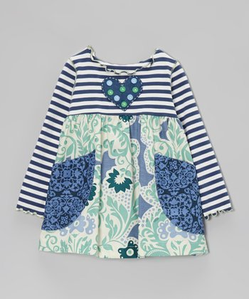 Navy & Green Vine Stripe Pocket Swing Top - Toddler & Girls