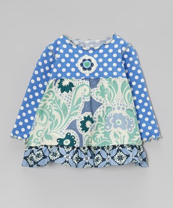 Periwinkle & Green Vine Ruffle Top - Infant, Toddler & Girls