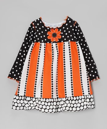 Orange & Black Polka Dot Stripe Ruffle Dress - Toddler & Girls
