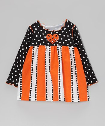 Orange & Black Polka Dot Stripe Swing Top - Toddler & Girls