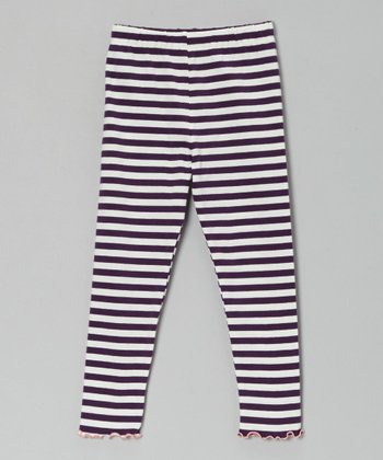 Eggplant & Cream Stripe Leggings - Toddler & Girls