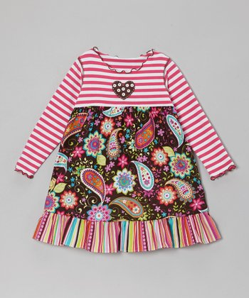 Brown & Pink Floral Stripe Ruffle Dress - Toddler & Girls