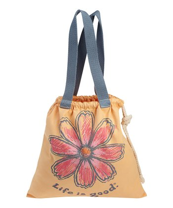 Tangerine Orange Flower Drawstring Tote