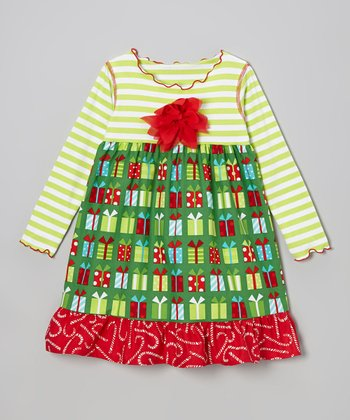 Red & Green Christmas Present Ruffle Swing Dress - Toddler & Girls