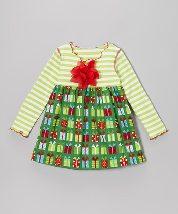 Red & Green Christmas Presents Lettuce Swing Top - Toddler & Girls