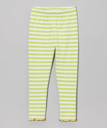 Citrus & White Stripe Leggings - Toddler & Girls