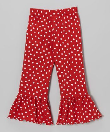 Red & White Polka Dot Ruffle Pants - Toddler & Girls