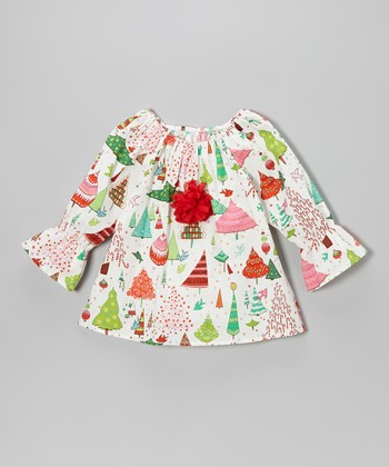 White Christmas Things Peasant Top - Toddler & Girls