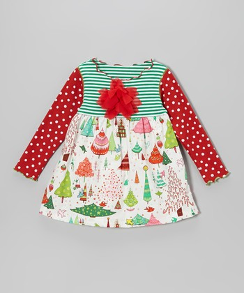 Red & Green Christmas Things Lettuce Swing Top - Toddler & Girls