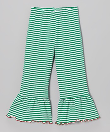 Green & White Stripe Ruffle Pants - Toddler & Girls